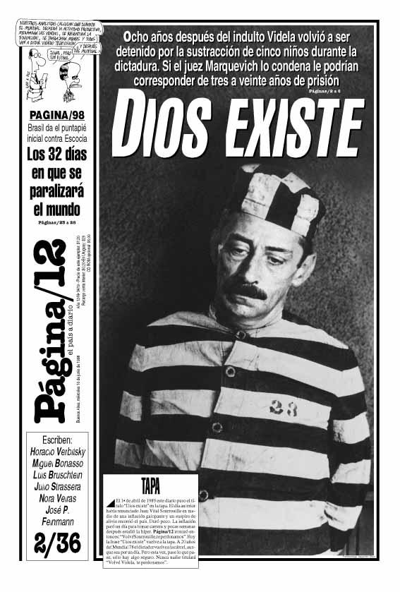 Tapa de Página 12 el día de la detención de J. R. Videla por robo de bebés durante la dictadura.